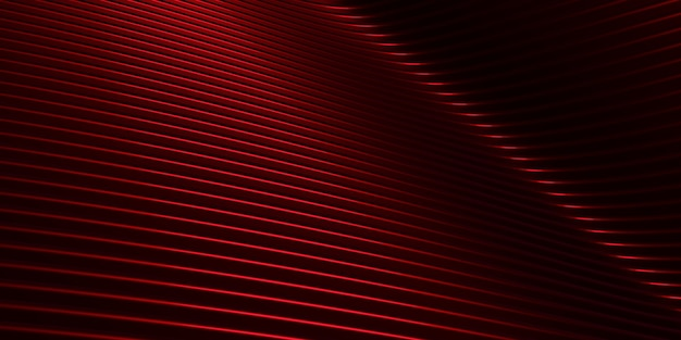 Red curve distorted shape parallel lines red plastic tube texture modern abstract 3d illustration