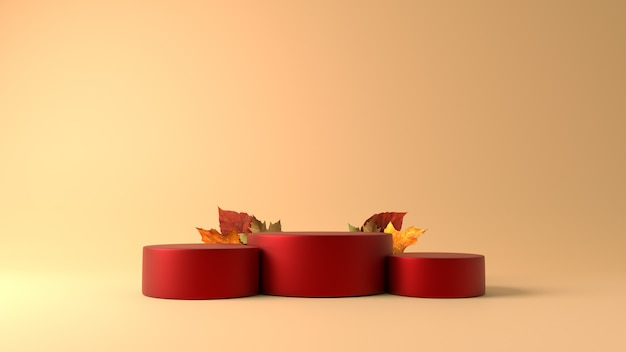 Red cylinder podium with maple leaves in autumn theme background