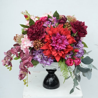 Red dahlia flower arrangement