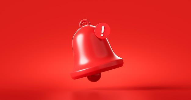 赤い危険警報ベルまたは緊急通知は、セキュリティ緊急の概念で救助警告の背景に警告します。 3dレンダリング。