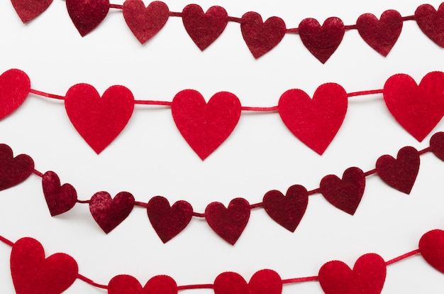 Red and dark red heart shapes decoration