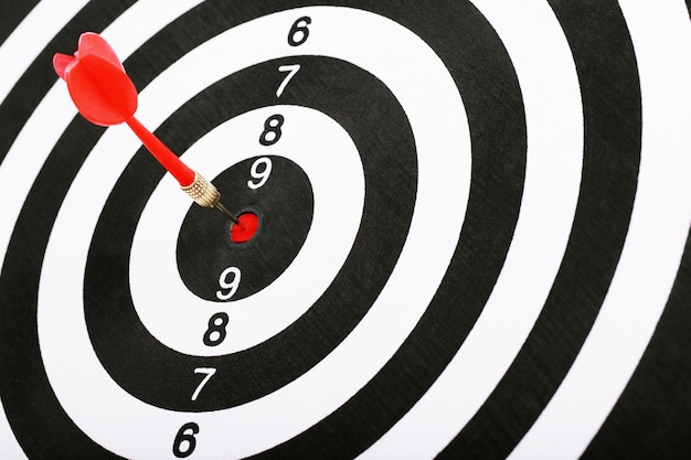 Red darts for setting business success goals.