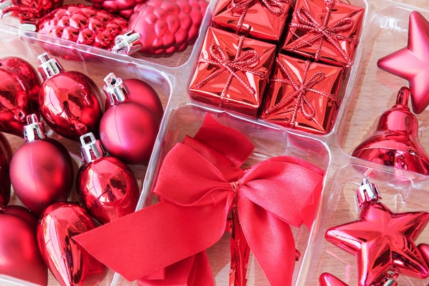 빨간 장식 크리스마스 세트
