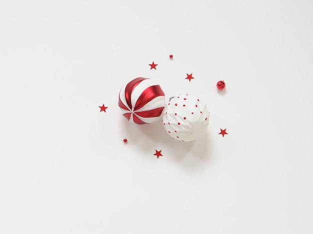 Red decorations on white background