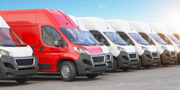 Красный автофургон в ряду белых фургонов. 3d иллюстрация