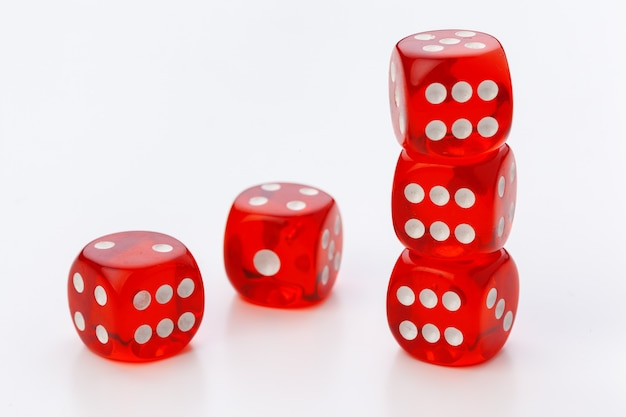Red dice isolated