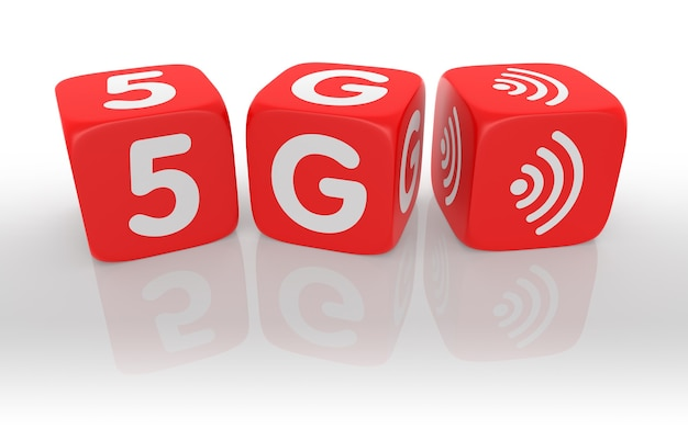 Red dice with 5g text of concept. 3d rendering