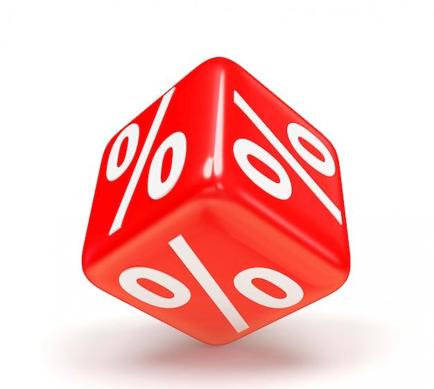 Красный кубик со знаком процента