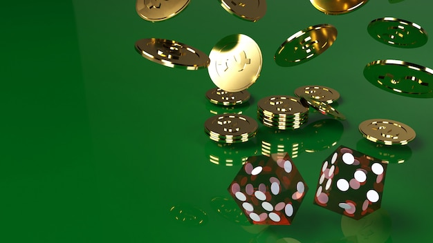 Red dices on green 3d rendering close up image.