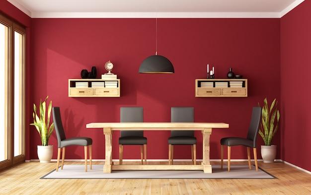 Красная столовая с деревянным столом в стиле ретро