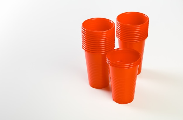 Red disposable plastic glasses