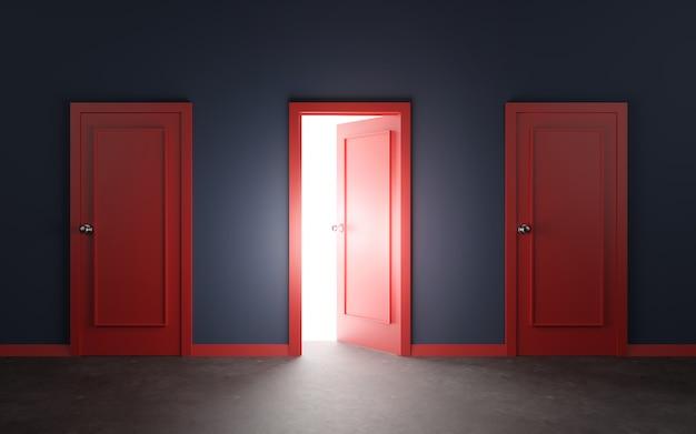赤いドアと壁の3 dイラストレーション