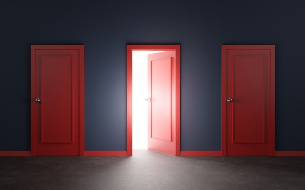 Red door and wall 3d illustration