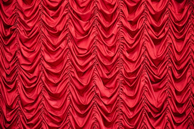 Red draped curtains