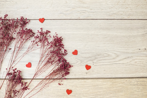 Red dry branches and hearts
