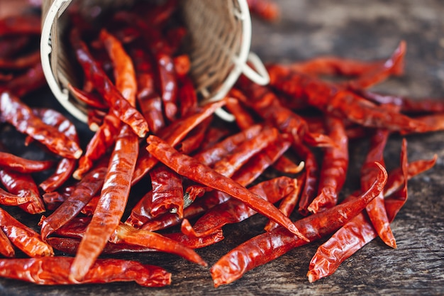 Red dry chilli peppers on wooden table closeup