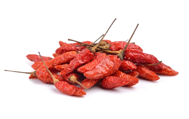 Red dry chillies isolated on white
