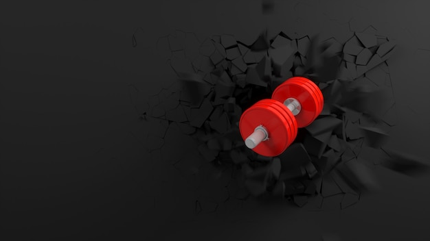 Red dumbbell flying out of a rift in the black wall, 3d illustration