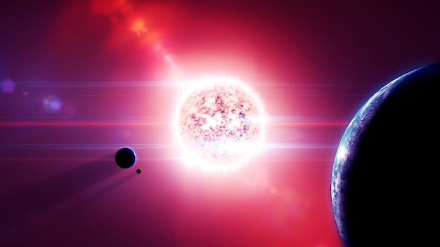 Red dwarf solar system with planets and moon