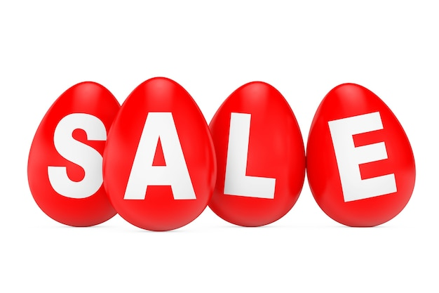 Red easter eggs with sale sign on a white background. 3d rendering.