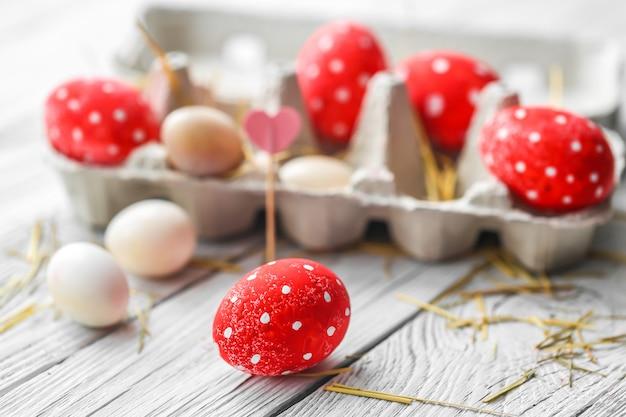 Red easter eggs Premium Photo