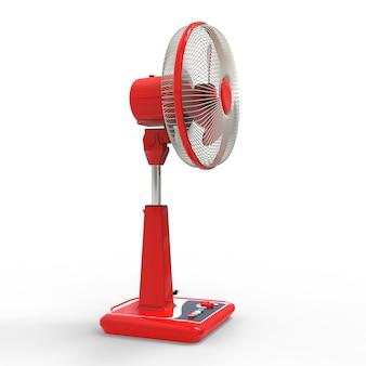 빨간 선풍기. 흰색 배경에 3차원 모델입니다. 스탠드에 제어 버튼이 있는 팬. 공기 환기를 위한 간단한 장치. 3d 그림입니다.