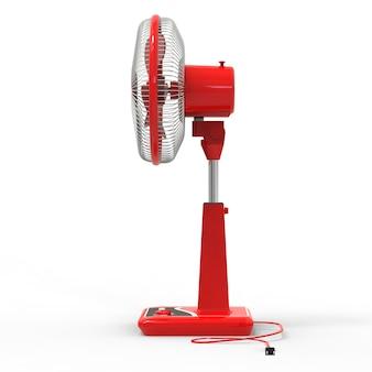 Красный электровентилятор. трехмерная модель на белом фоне. вентилятор с кнопками управления на подставке. простое устройство для вентиляции воздуха. 3d иллюстрации.