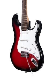 흰색 배경 위에 절연 빨간 일렉트릭 기타