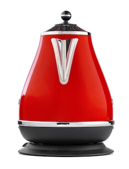 Red electric kettle isolated on white background