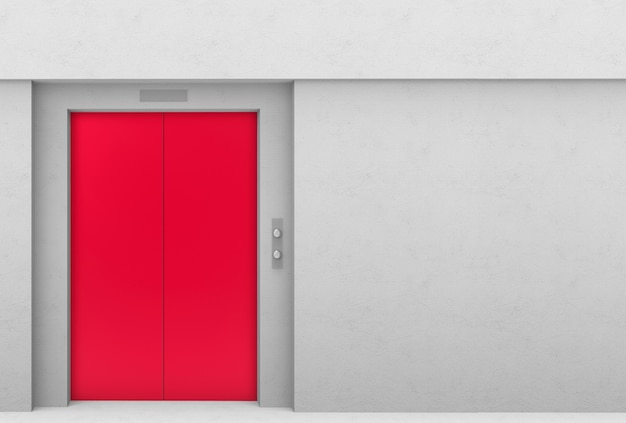 Red elevator door with gray cement copy space wall background.