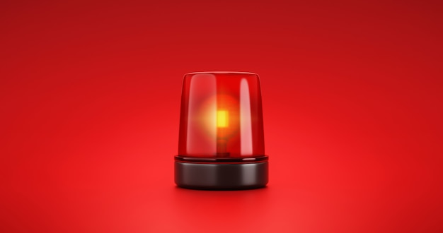 Red emergency siren urgency alert and security police attention light signal or beacon flash ambulance rescue danger alarm sign on car warning background with traffic glowing bulb accident. 3d render.