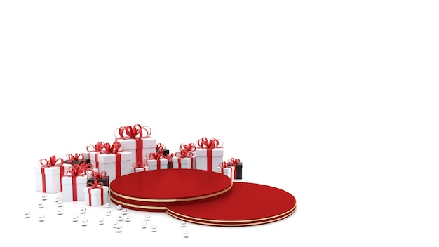 빨간색 빈 연단 새해를 축하하기 위해 주위에 선물 상자가 있습니다