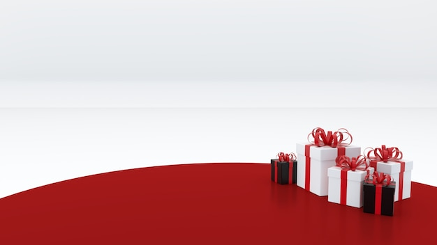 Red empty podium there is a gift box around to celebrate the new year