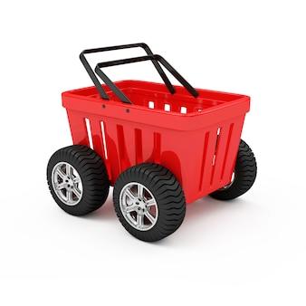 車輪の上の赤い空のショッピングバスケット