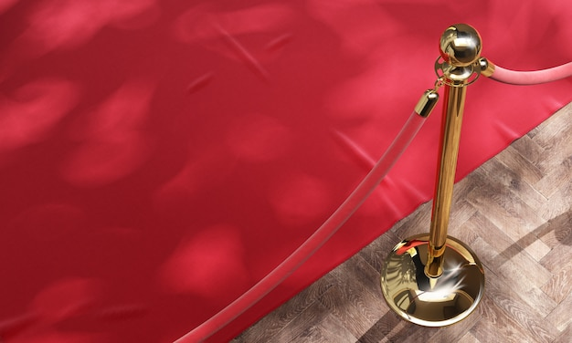 Red event carpet and golden barrier with red rope 3d