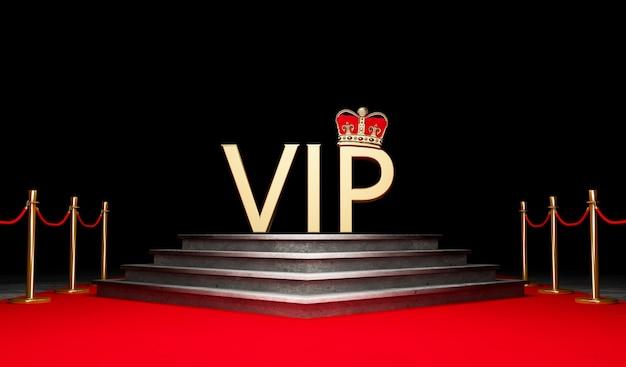 성공과 승리의 레드 이벤트 카펫, 계단 및 금 밧줄 장벽 개념