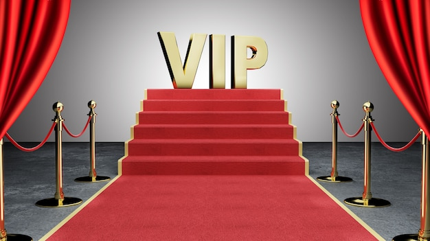 Red event carpet, stair and gold rope barrier concept of success and triumph,