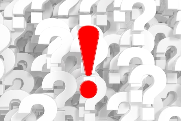 Red exclamation mark in front of a lot of white question marks background extreme closeup. 3d rendering