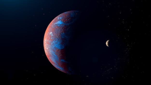 Red exoplanet  with moon