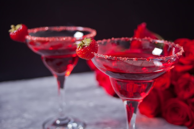 Red exotic alcoholic cocktail