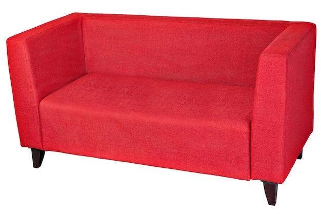 分離された赤い布2人掛けソファ