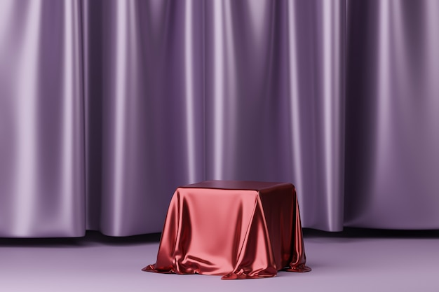 Red fabric placed on podium or pedestal for products or advertising near to purple curtains. 3d rendering.