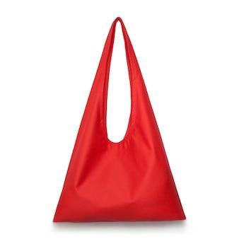 제로 폐기물 의식의 디자인 개념에 대한 흰색 격리 된 표면 장소에 빨간색 패브릭 쇼핑 가방 모형 빈 템플릿에 대한 캔버스 패브릭 쇼핑