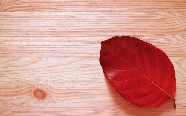 木製の背景に分離された赤い落ち葉