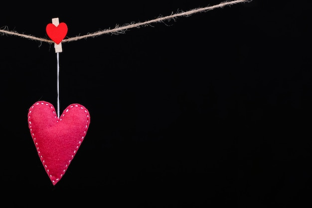 Red felt hearts on a rope