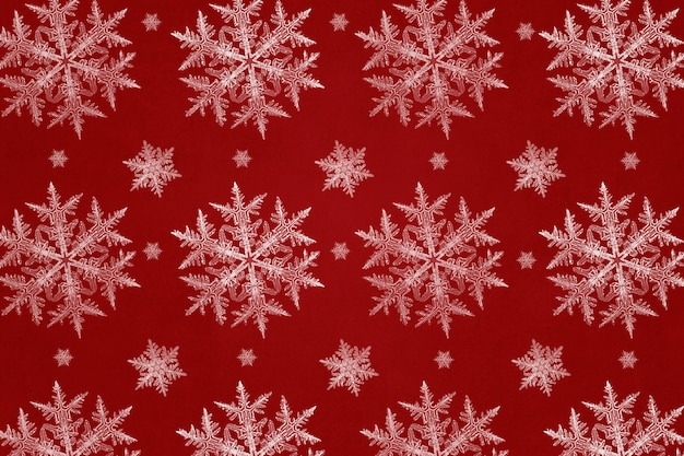 Red festive snowflake pattern background, remix of photography by wilson bentley