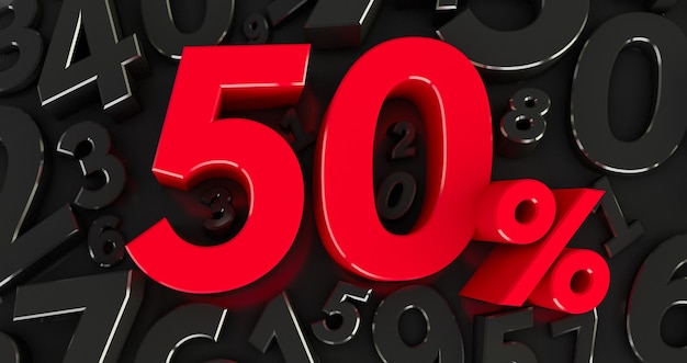 Red fifty percent on a black numbers background. 3d render. 50%