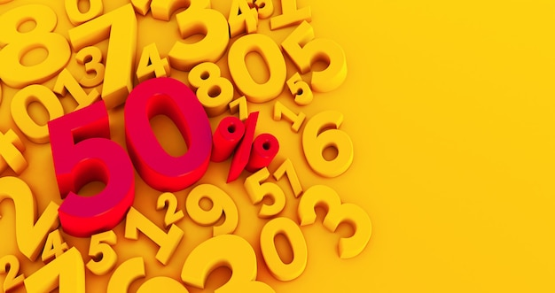 Red fifty percent on a yellow numbers background. 3d render. 50%