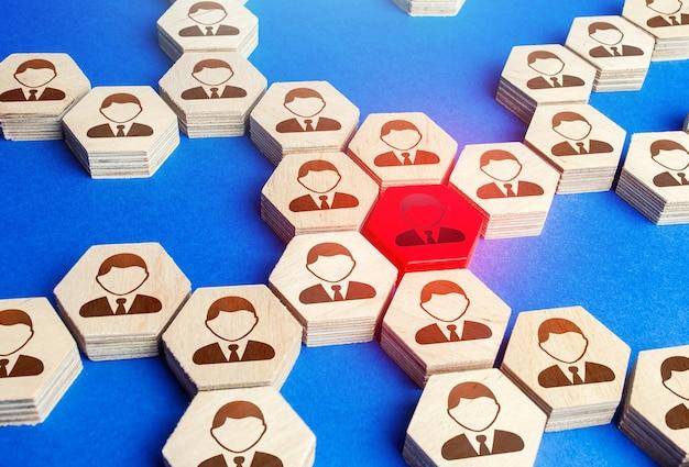 Красная фигурка сотрудника структуры крупного бизнеса