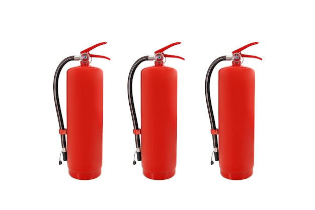Red fire extinguishers in the building isolated